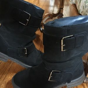 Baker suede boots with buckle detail!